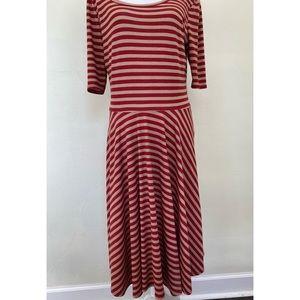 LuLaRoe Dresses - LuLaRoe Nicole Dress Stripe Red Tan Flare Stretch